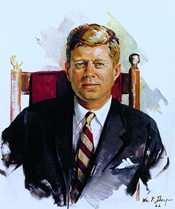 portrait of JFK by artist william Draper