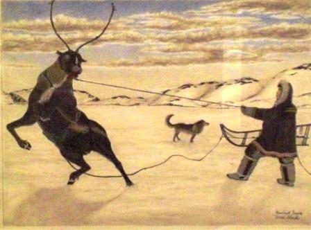 Herder Training a Wild Deer for a Sled Deer James Kiveroruk Moses drawing