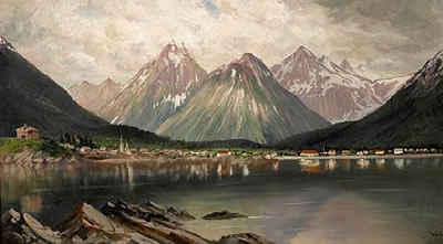 James Stuart painting of Sitka mountains in Alaska