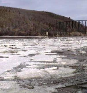 The tanana river in alaska as the ice is breaking up