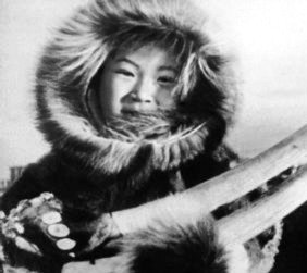 yupik indian woman with walrus tusks